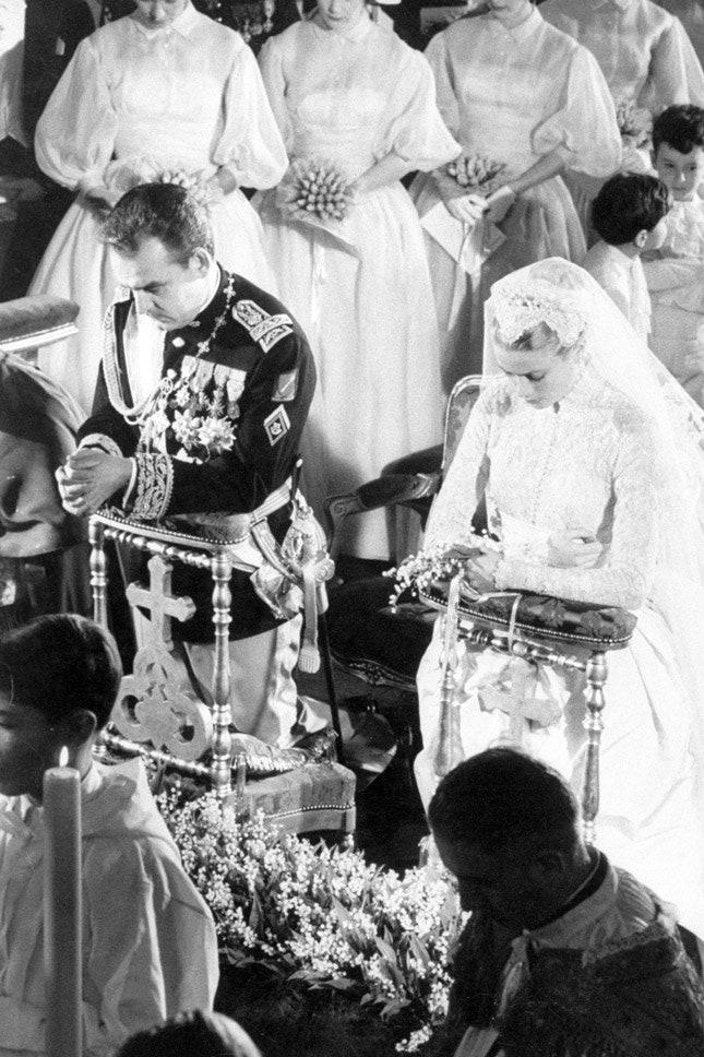 Ренье III и Грейс Келли в Helen Rose, апрель 1956